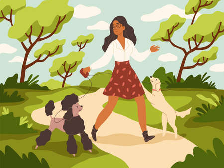 Walk with dog. Young woman and happy dogs on leashes in summer city park, owner and pets play outdoor, funny domestic animals on nature. Girl with poodle and labrador modern cartoon vector concept