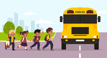 School bus kids. Students enter yellow transport, children group goes to classes, urban landscape, girls and boys with backpacks. Transportation of young cute pupils. Flat vector cartoon concept