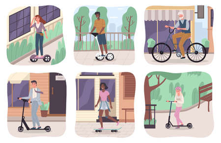Ecology transport scenes. Different ages people use urban eco vehicles, modern city green electric motion. Characters riding electric scooter, hoverboard and bicycle cityscape scene. Vector cartoon set