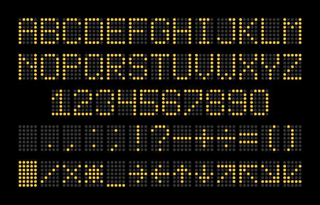 Led display font. Dot light english alphabet, electronic digital board yellow letters, numbers and signs isolated on black background, sport stadium and airport calculation usage. Ilustração