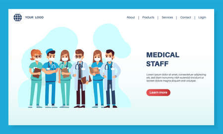 Medical staff landing page. Male and female doctors and nurses characters in protective masks concept, clinic or hospital homepage template.