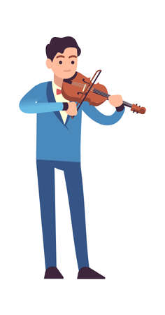 Violinist performance. Classic male musician in blue dress with violin plays melody, stringed musical instrument. Ilustração