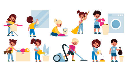 Kids cleaning home. Children housework activity. Girls and boys clean apartment, washing clothes, garbage taking, watering plants, vacuuming and sweeping floor. Housekeeping chores vector cartoon set
