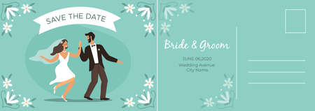 Wedding postcard. Happy couple bride and groom dancing, romantic card with lovers, letter template with copy space on floral background, invitation flat vector modern cartoon illustration Ilustração