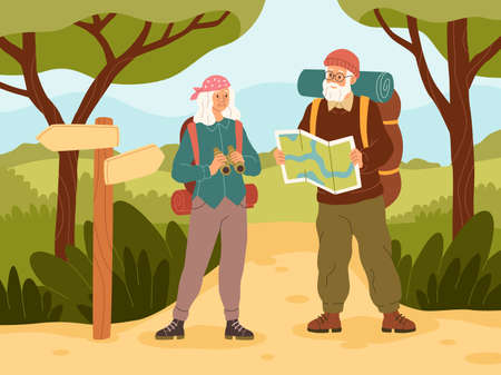 Senior couple vacation. Active elder people characters travel, grandfather and grandmother with backpack summer trip adventure, outdoor walking in woods. Trekking and hiking vector concept