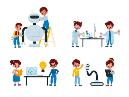 Children laboratory. Young scientists conduct research, kids in special lab coats assembling robot, work with chemicals, experiments with reagents. Science and education for pupils vector isolated set