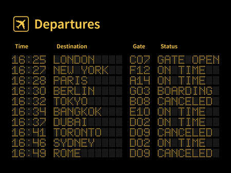 Airport led board. Aircrafts departures and terminal number gate timetable information, light yellow dot letters and numbers on black panel. Flight schedule on dashboard boarding status vector concept