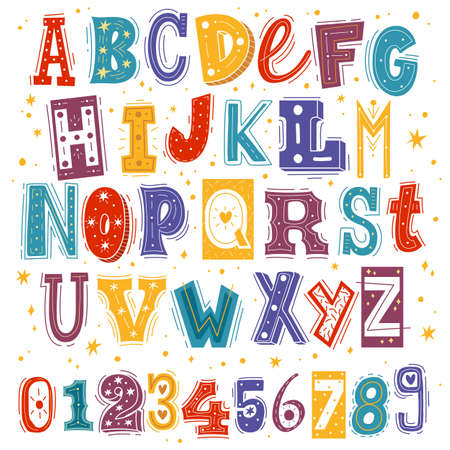 Funny kids font. Comic childish latin letters and arabic numbers, creative bright colorful english cute alphabet, cartoon multicolored typeface with hand drawn elements. Vector isolated on white set