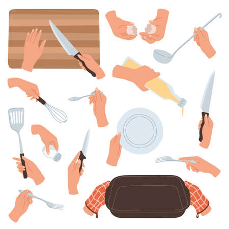 Cooking hands. Female hands holding kitchen accessories, utensils and tableware, food preparation cutting and baking, interaction with dishes, knives and spoons. Cartoon flat vector isolated set Ilustração