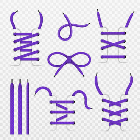 Shoelace tying. Realistic footwear lacing, purple tied knot and bow, shoes details with knotted colored ropes, weaving ties various types, mounting type. Vector isolated on transparent background set Vecteurs