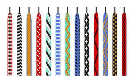 Patterned shoelace. Combined color options ties, shoes ropes with bright colorful patterns, variegated weaves lacing, footwear textile binding elements. Kids accessories for boots vector isolated set