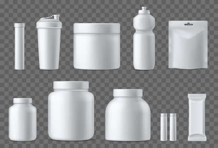 Sport nutrition containers. Realistic blank white plastic packaging mockups collection. Superfood, whey protein powder, vitamins and energy drinks. Sports dietary supplements. Vector 3d template set