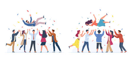 Tossing in air. People group throwing colleague, birthday celebrating, victory congratulate, business team achievements, happy characters rejoice in victory. Vector cartoon flat set isolated on white