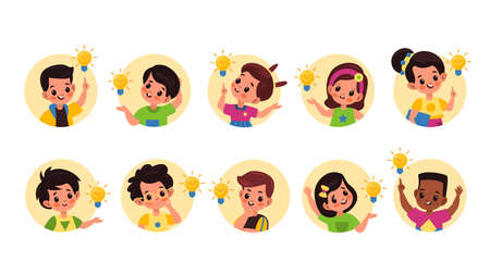 Kids idea lamp. Happy cute children in round frames with ideas and lamps sings, little pupils boys and girls founded right solution, imagination and innovation symbol vector flat cartoon isolated set Ilustração