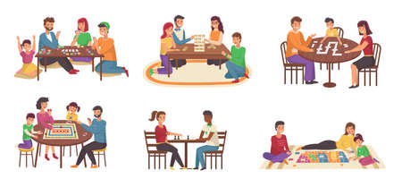 People board games. Happy families play chess and poker, domino and puzzles. Joint home activities, friendly communication, collective hobby, parents and children indoors. Vector cartoon scenes set