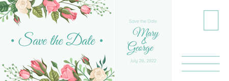 Wedding postcard. Romantic card, elegant pink rose flowers and leaves frame, summer bouquet botanical letter template with copy space floral border design invitation and greeting vector illustration