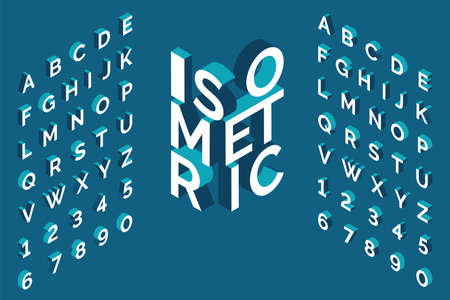 Isometric alphabet. 3d bold uppercase latin letters and numbers, geometric futuristic typography, cubic straight block english font different angles, simple abc isometry collection vector isolated set Illustration