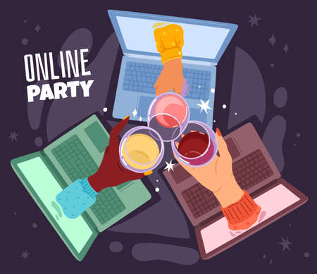Online drinking. Remote communication, birthday party hangout connection on laptop, internet meeting, female hands with wine glasses, videoconference with friends. Vector social media cartoon concept Illustration