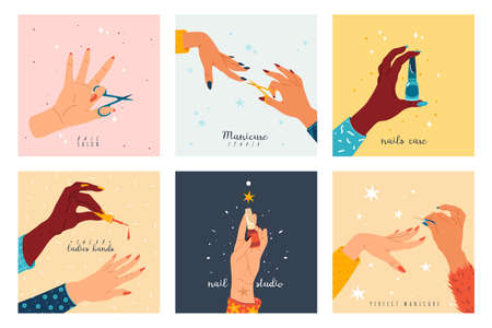 Manicure nails. Female hands with manicure and pedicure tools and care accessories, ladies beauty salon. Bright gel polishes, scissors and files. Nail studio poster collection, vector cartoon card set