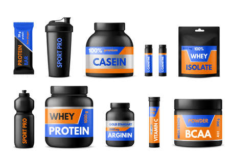 Sport nutrition labels. Bodybuilders food supplements, plastic packages with whey protein and creatine, vitamins and energy drinks, black containers and bottles with stickers. Vector realistic 3d set