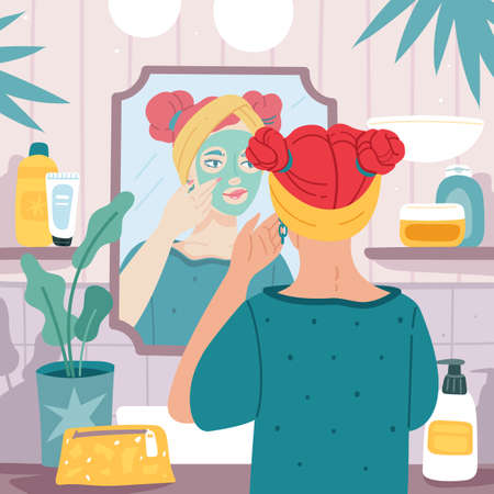 Mirror reflection. Young beautiful woman makes face mask in bathroom interior, female care skin routine and hygiene, girl morning beauty routine, organic cosmetic and cream vector cartoon concept