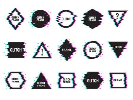 Glitch frames. Distorted graphics with abstract offset and neon glow effects, dynamic damaged geometric shapes, digital signals interference. Trendy minimal poster template decoration vector set