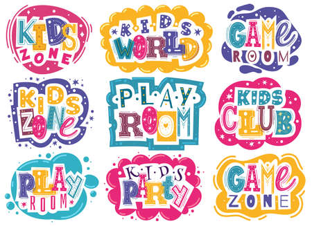 Kids zone emblems. Colorful children playroom and game area emblems, bright colorful fun logos badges, entertainment park and educational club signs, game zone party. Vector labels or stickers set