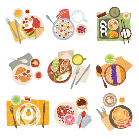 Breakfast meal. Morning tasty healthy food types, avocado toasts, americano coffee and doughnuts, pancakes with bacon, eggs and sandwich, oatmeal and croissants top view. Vector trendy cartoon set Illustration