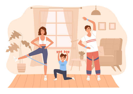 Family home sport. Happy parents and daughter training in room. Cartoon people doing exercises indoor. Cute girl joins mother and father in fitness workout. Vector active healthy lifestyle concept Illustration