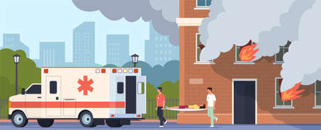Emergency help. Paramedics brigade carry woman on stretcher. Cartoon people suffer from carbon monoxide asphyxiation in burning building. Medical workers treats victims of fire, vector illustration
