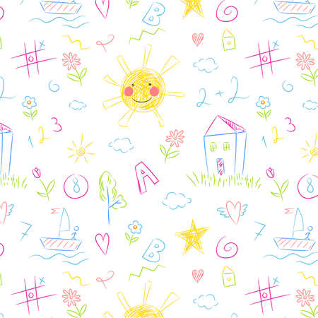 Kids drawing seamless pattern. Colorful childish doodles primitive wallpaper, crayons naive painting on white, sketches summer theme art. Decor textile, wrapping paper wallpaper vector print or fabric