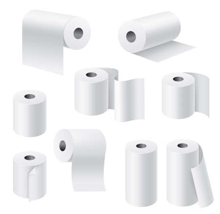 Realistic paper rolls. 3d white towel, toilet tissue on cardboard cylinder, hygiene products kitchen and bathroom accessories collection, different angle view, unwound pieces. Vector isolated set Vektoros illusztráció