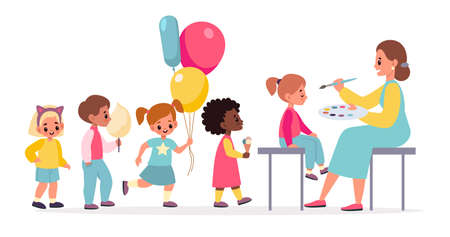Funny makeup. Painted children faces woman makes party makeover for kids, happy boys and girls with cotton candy and balloons in queue, masquerade festival. Birthday celebration vector cartoon concept