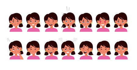 Kid face emotions set. Little cute girl different facial expressions, child portrait with smile and sadness, bored and surprised, various mood icons. Vector flat cartoon children character collection