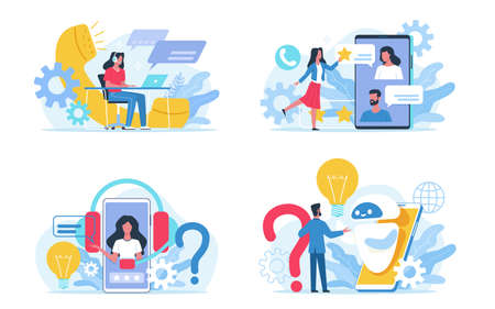 Customer support service. Social call center, round-the-clock online assistance. Internet chat for answering to clients and buyers questions. Web feedback and users comments. FAQ concept. Vector set Illustration