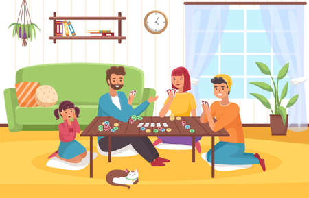 Board game at home. Happy family in room interior plays card role-playing game, joint collective hobby parents and children chips and cards on table. Friendly communication leisure time vector concept