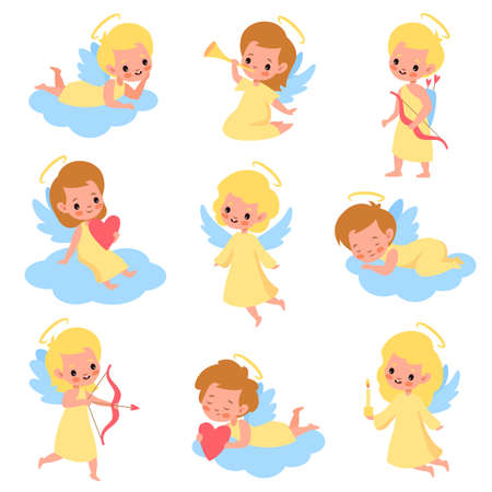 Baby angels. Funny kids cupids with wings characters, boys and girls with romantic arrows, trumpet and bows, blonde heaven angelic children on clouds different poses. Vector cute cartoon isolated set Illustration