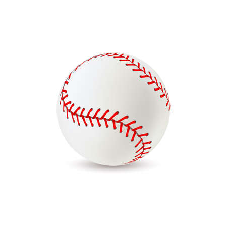 Baseball ball. Realistic sport equipment for game, white leather with red lace stitches 3d round softball, american athletic professional balls with seams vector isolated single closeup illustration