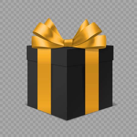 Black gift box with gold bow. 3D realistic closed luxury present with golden decor angle view, realistic packaging, holiday or birthday surprise, vector isolated on transparent background illustration