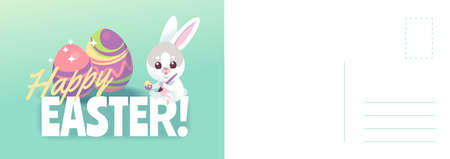 Happy easter card. Cartoon cute bunny painting holiday eggs, spring greeting or invitation, rabbit with traditional symbol, minimal design letter template with text, vector illustration and copy space