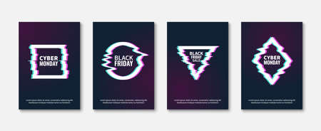 Glitch effects. Abstract trendy frame posters, glitched designs concept, dynamic damaged geometric shapes, black friday and cyber monday sale add. Illustration