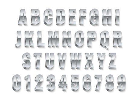 Metal 3d font. Realistic silver capital english letters and numbers, modern white steel alphabet collection, chrome typography, platinum abc symbols letters design gray colors. Vector isolated set