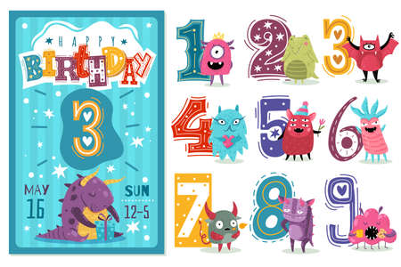 Kids anniversary numbers. Children birthday party greeting card template, invitation poster with colored cartoon numbers, bright funny monsters aliens and creatures collection. Vector isolated set