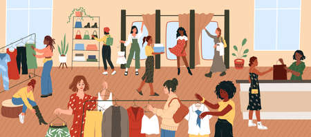 Trying clothes. Women try dresses and shoes in boutique or shop. Apparel shopping, super sales time, people try outfits, look mirror, pay for goods at checkout, garments store. Vector fashion concept
