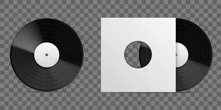 Realistic vinyl record. 3D long playing album blank paper cover template, vintage musical disc black plate packaging front view, empty square cardboard envelope with round hole. Vector isolated mockup