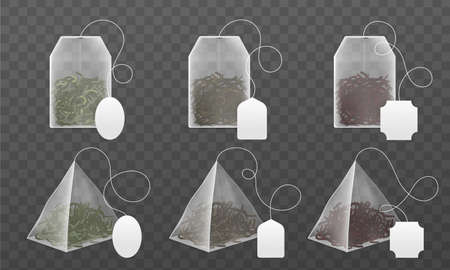 Tea bags mockup. Realistic disposable beverage infuser bags and pyramids sachet with blank paper labels various forms, black and green dry leaves different types collection. Vector 3d isolated set