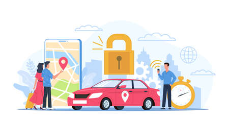 Car sharing. Automobile rental service concept. Smartphone application for GPS navigation and reliable transport order.