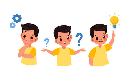 Kid searches idea process. Boy solves challenge, student child in thinking process, question mark, gears and ideas light bulb over head, imagination and new idea, vector flat cartoon isolated concept