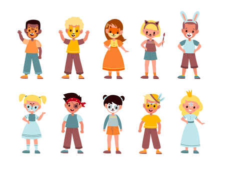 Kids funny makeup. Boys and girls face painting, children artistic party, masquerade festival, birthday celebration, animals and fairy tales creature facial masks and makeover cartoon vector set