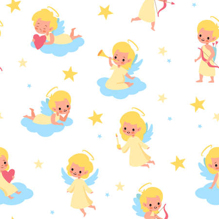 Sweet angels seamless pattern. Babies with wings pastel colors, children on clouds, little blond angelic boys and girls, long clothes. Illustration